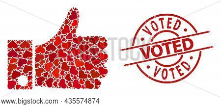 Grunge Voted Stamp, And Red Love Heart Mosaic For Thumb Up. Red Round Stamp Seal Contains Voted Capt