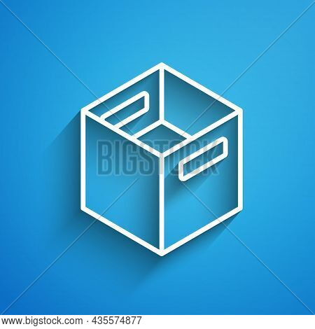 White Line Carton Cardboard Box Icon Isolated On Blue Background. Box, Package, Parcel Sign. Deliver