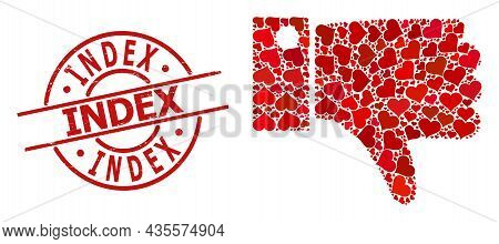 Rubber Index Stamp Seal, And Red Love Heart Pattern For Thumb Down. Red Round Stamp Seal Contains In