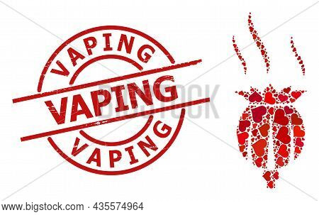 Scratched Vaping Stamp Seal, And Red Love Heart Collage For Opium Aroma. Red Round Stamp Has Vaping