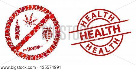 Scratched Health Stamp Seal, And Red Love Heart Collage For Forbid Addiction Drugs. Red Round Stamp