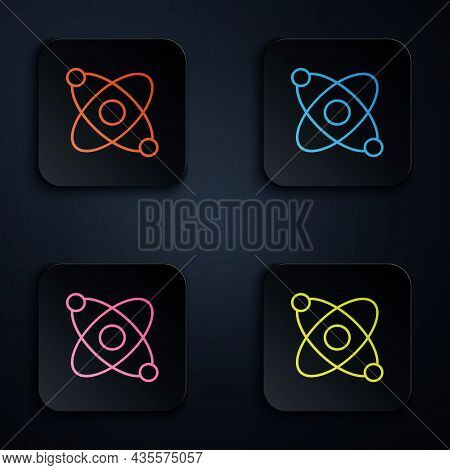 Color Neon Line Atom Icon Isolated On Black Background. Symbol Of Science, Education, Nuclear Physic