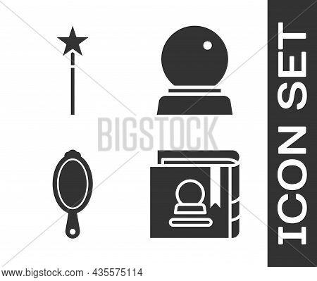 Set Ancient Magic Book, Magic Wand, Magic Hand Mirror And Magic Ball Icon. Vector