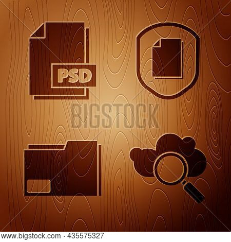 Set Search Cloud Computing, Psd File Document, Document Folder And Document Protection Concept On Wo