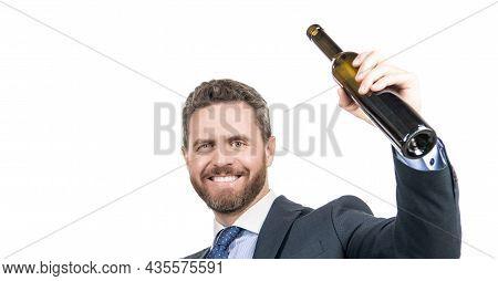 Wine For Celebration. Happy Businessman Celebrate Success. Corporate Event Celebration
