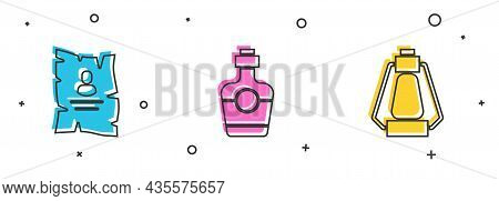 Set Wanted Western Poster, Tequila Bottle And Camping Lantern Icon. Vector
