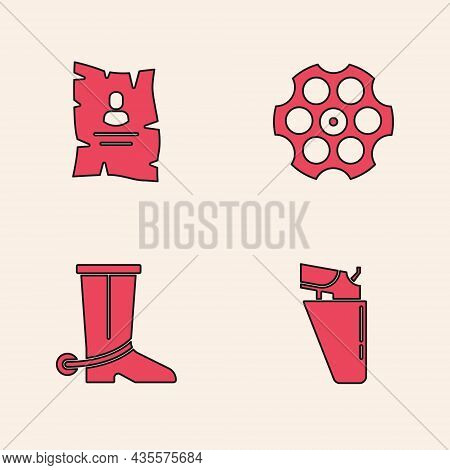 Set Revolver Gun In Holster, Wanted Western Poster, Cylinder And Cowboy Boot Icon. Vector