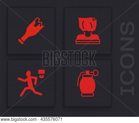 Set Hand Grenade, Broken Bottle As Weapon, Kidnaping And Murder Icon. Vector