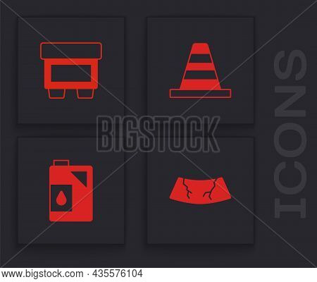 Set Broken Windshield, Fuse, Traffic Cone And Canister For Motor Oil Icon. Vector