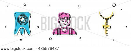 Set Tooth With Diamond, Jeweler Man And Christian Cross Chain Icon. Vector