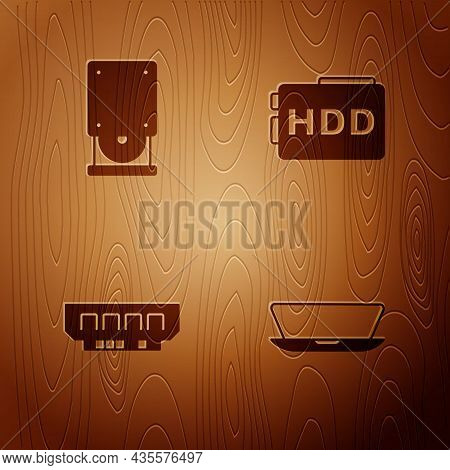 Set Laptop, Optical Disc Drive, Ram, Random Access Memory And Hard Disk Hdd On Wooden Background. Ve
