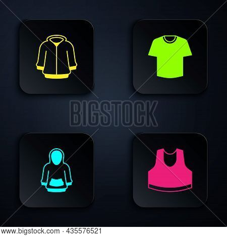 Set Undershirt, Hoodie, And T-shirt. Black Square Button. Vector