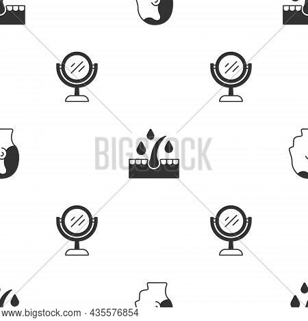 Set Baldness, Oil For Hair Care Treatment And Hand Mirror On Seamless Pattern. Vector