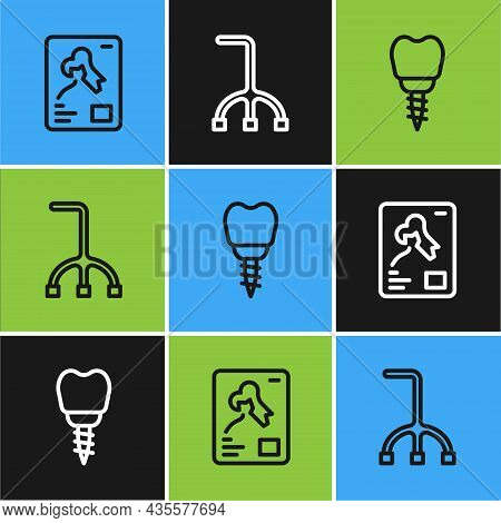 Set Line X-ray Shots, Dental Implant And Walking Stick Cane Icon. Vector