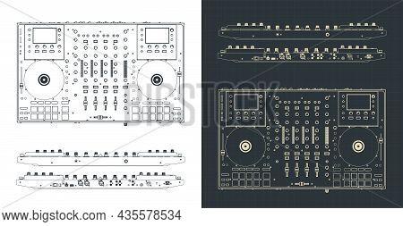 Dj Controller Blueprints Illustration