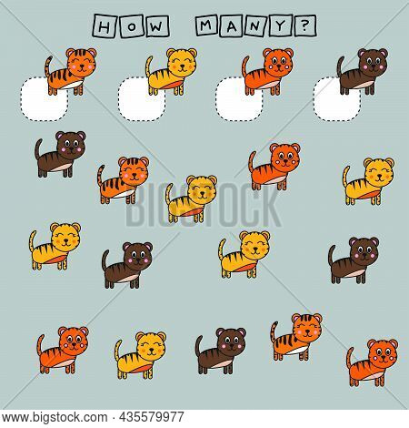 Counting Game For Preschool Children.  Count How Many Tigers