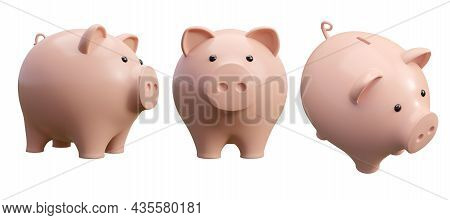 Cartoon Style Cute Piggy Bank Isolated On White Background 3d Render Illustration