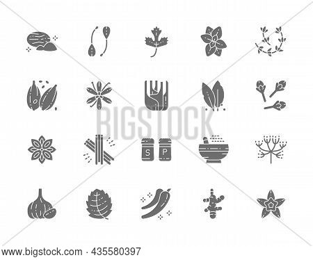 Set Of Grey Icons. Nutmeg, Capers, Parsley, Oregano, Cardamom And More.