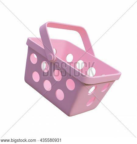 Minimal Style Pink Shopping Basket Isolated On White Background 3d Render Illustration
