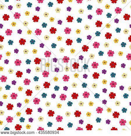 Seamless Pattern Colorful Flower Background Arranged Randomly. Hand Drawn In Cartoon Style Used For