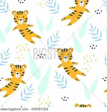 Cute Cartoon Animal Background Seamless Tiger Pattern Vector With Leaves Hand Drawn Use For Publicat