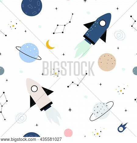 Space Background Illustration With Stars And Rockets Hand Drawn Seamless Vector Pattern In Cartoon S