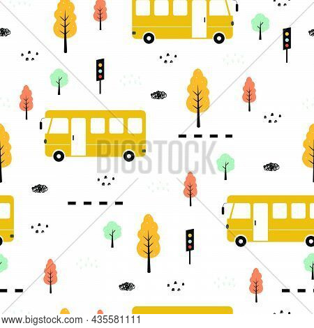Bus And Tree Seamless Pattern Vehicle Background Hand Drawn In A Child Style. Design. Used For Publi