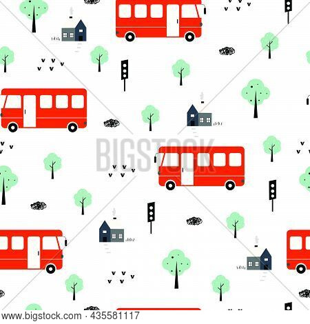 Vehicle Background Buses And Trees And Houses Seamless Pattern Hand Drawn In A Child Style. Design.