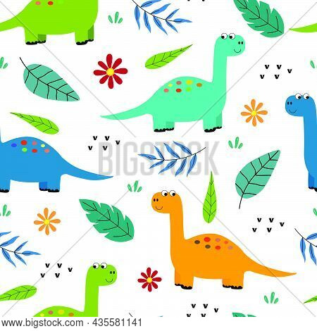Dinosaur With Leaves Seamless Pattern Cute Cartoon Animal Background Hand Drawn In Child Style Desig