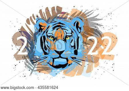 The Face Of A Black Water Tiger In Palm Leaves And Holiday Date 2022. Symbol Of The New Year On The