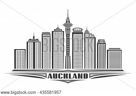 Vector Illustration Of Auckland, Monochrome Horizontal Poster With Linear Design Auckland City Scape