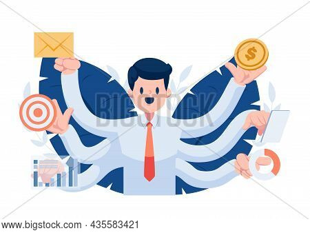 Businessman With Many Hands Doing Many Work Simultaneously. Multitask At Work And Efficient Problem