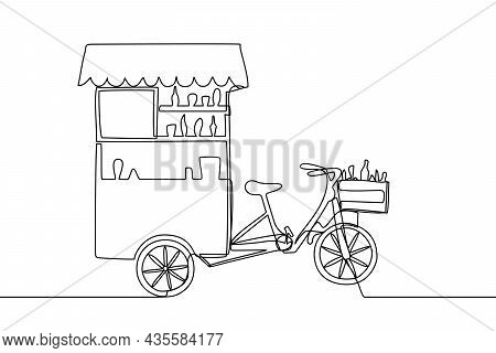 Mobile Coffee Stall Or Food Truck Line Art Vector Illustration