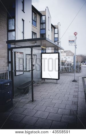 Blank Sign At Bus Stop