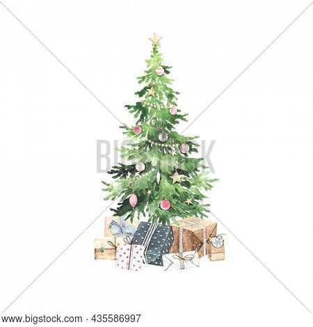 Christmas tree with colorful balls, confetti, star and gift boxes, watercolor holiday illustration isolated on white background, symbol winter, new year and Christmas, greeting card.