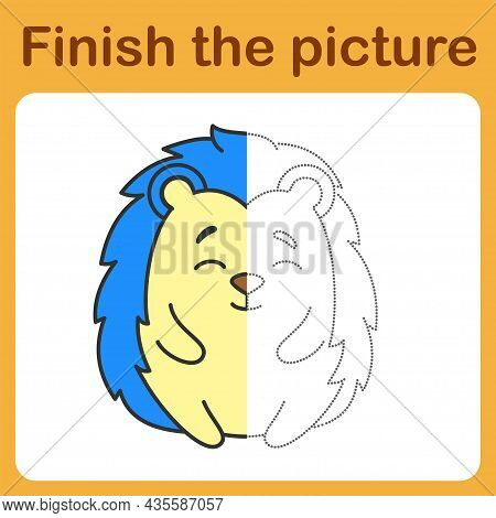 Onnect The Dot And Complete The Picture. Simple Coloring Hedgehog. Drawing Game For Children.