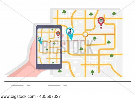Gps Navigation Map And Compass On Location Search Application Shows The Position Or Route You Are Go