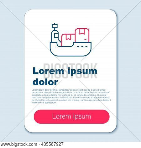 Line Cargo Ship With Boxes Delivery Service Icon Isolated On Grey Background. Delivery, Transportati