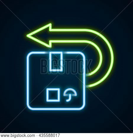 Glowing Neon Line Return Cardboard Box Icon Isolated On Black Background. Box, Package, Parcel Sign.