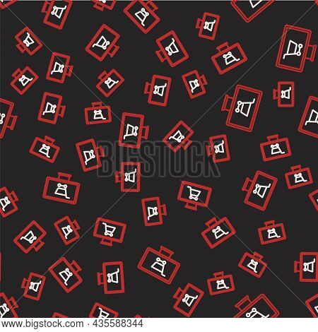 Line Shopping Cart On Monitor Icon Isolated Seamless Pattern On Black Background. Concept E-commerce