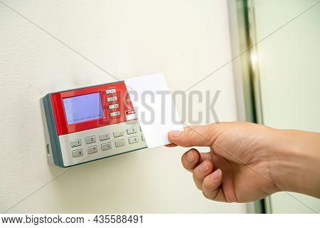 Proximity Card Reader Door Unlock, Close Up Hand Security Man Using Id Card Scanning At The Access C