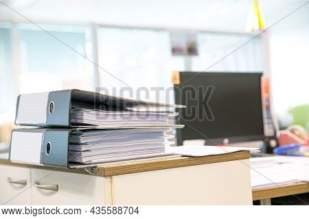 Office Work Equipment, Close-up Heap Document Folder Stack For Overwork Paper Or Reuse Printout On O