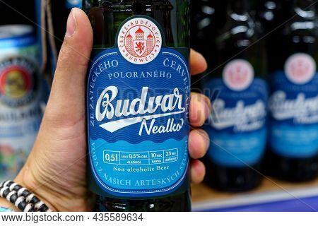 Volzhsky, Russia-september 21, 2021: Bottles Of Budvar Nealko Non-alcoholic, Produced In Ceske Budej