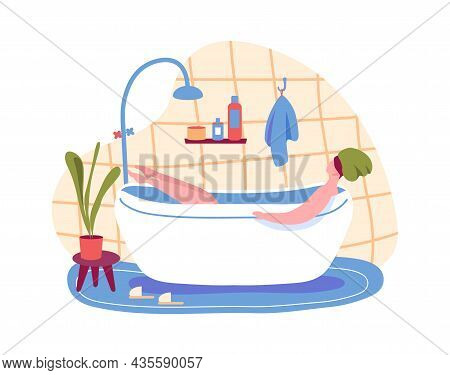 Woman Taking Bath, Relax And Enjoy After Work Day. Illustration Of Girl Relax In Bathroom, Woman In