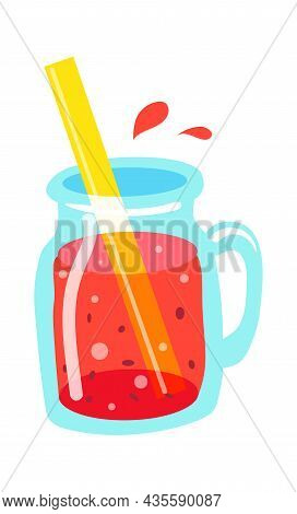 Fruits Smoothie In Glass Jar With Straw. Illustration Of Fresh Fruit Drink For Healthy, Shake For Di