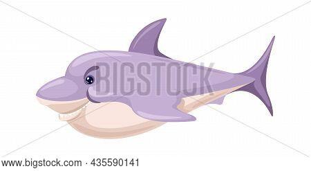 Cartoon Shark, Danger Fish Predator In Sea And Ocean. Vector Ocean Predator, Fish Character In Water
