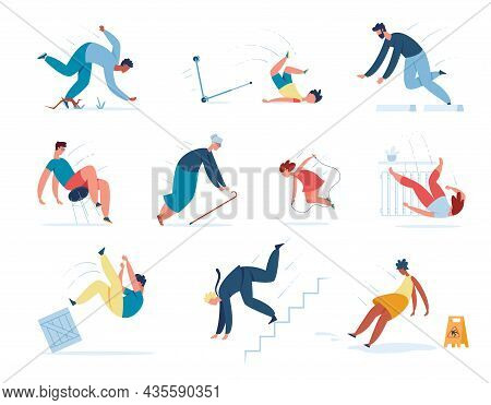 People Falling Down Stairs, Tripping And Slipping On Wet Floor. Young Or Adult Characters Stumble Sl