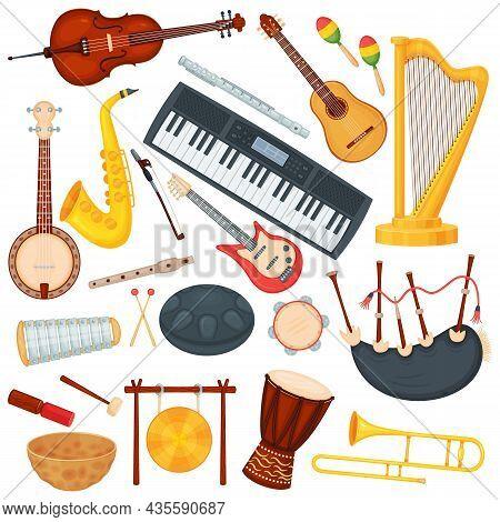 Cartoon Musical Instruments, Classic Orchestra Music Elements. Saxophone, Trombone, Harp, Bongo Drum