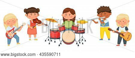 Kids Music Band, Cartoon Children Playing Musical Instruments Together. Child Musicians Playing On V