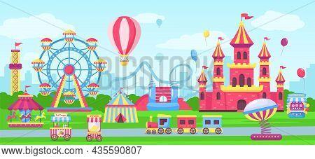 Amusement Park With Funfair Attractions, Carnival Fairground Rides. Cartoon Circus Tent, Children Ca